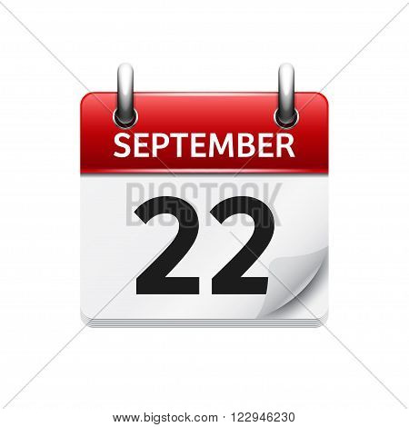 September 22 . Vector flat daily calendar icon. Date and time, day, month. Holiday.