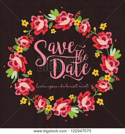 Save The Date / Floral Wreath