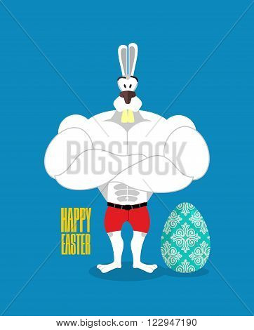 Happy Easter. Powerful Rabbit Guards Easter Egg. Strong Rabbit And Egg. Raspisnoe Traditional Egg Fo