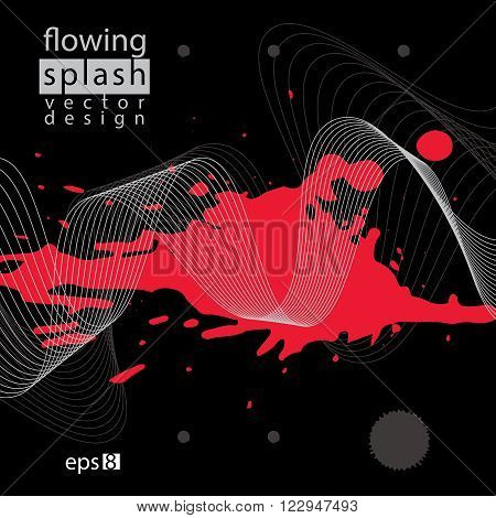 Artistic black and contrast airy ink template scanned and traced splashing abstract element. Rough grungy bright background.
