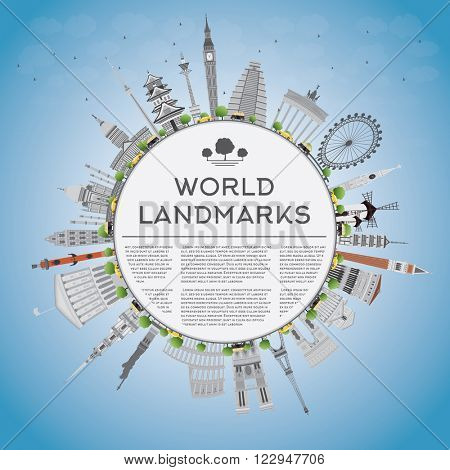 Travel concept around the world with famous international landmarks and copy space. Business or tourism travel concept with place for text. Illustration for banner, placard