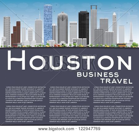 Houston Skyline with Gray Buildings and Blue Sky. Business Travel and Tourism Concept with Copy Space. Image for Presentation Banner Placard and Web Site.