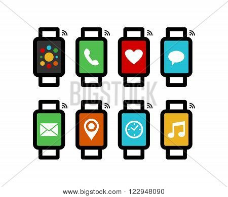 Smart Watch Line Art Set With Colorful App Icons
