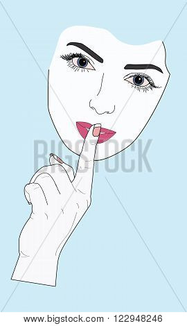 woman face showing thumbs up gesture of silence vector illustration