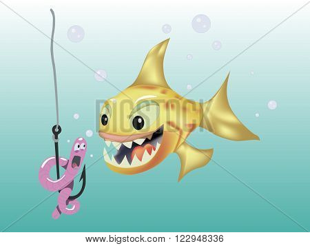 Cartoon orange fish hunts on a pink worm vector illustration. Fun, fishing, hook underwater.