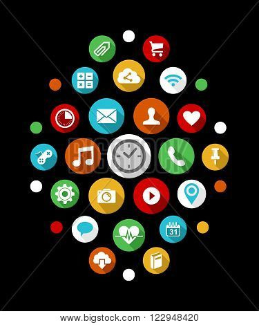 Smart Watch App Icons Set In Colorful 2D Style