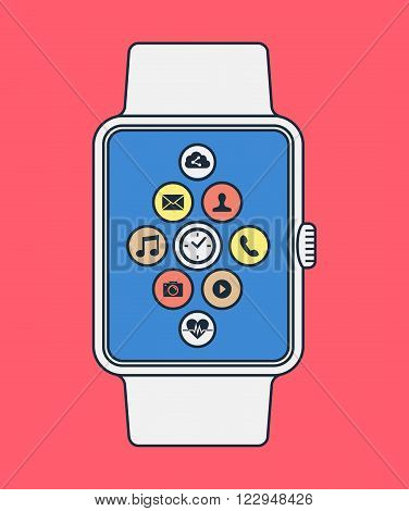 Smart Watch Design In Line Art Style With App Icon