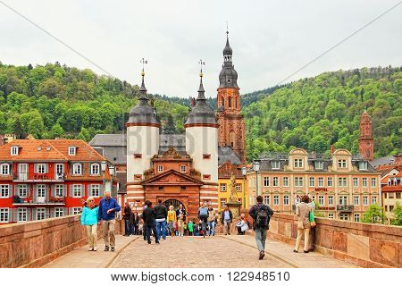 HEIDELBERG, GERMANY - MAY 3, 2013: Karl Theodor Bridge (also known as the Old Bridge) over the the Neckar river in old town of Heidelberg