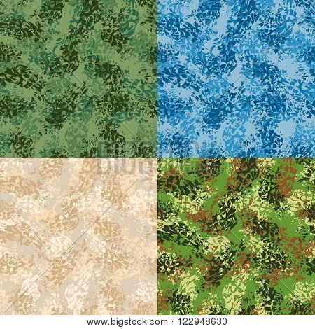 Military Seamless Pattern. Set Army Texture. Protective Ornament For Soldiers. Blue Winter War Patte