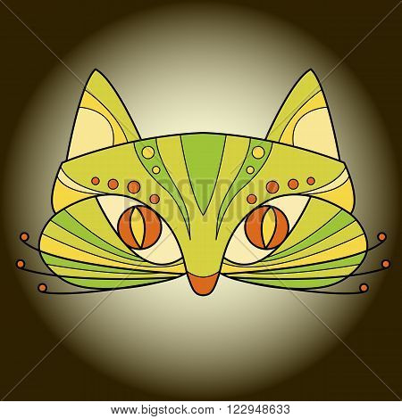 cat face mask vector illustration  isolated green