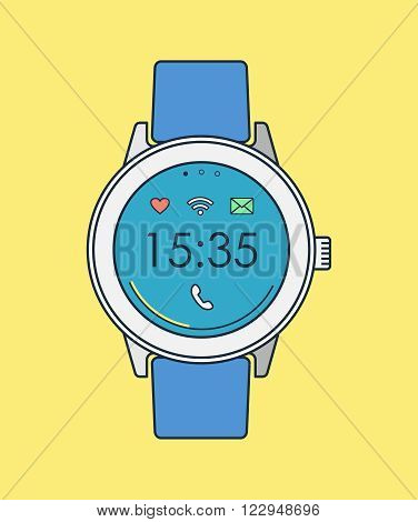 Retro Smart Watch In Line Art With Time And Icons