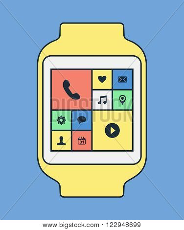 Smart Watch Illustration With Apps In Line Art