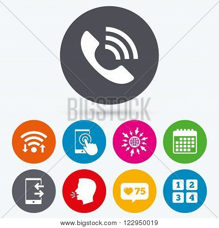 Wifi, like counter and calendar icons. Phone icons. Touch screen smartphone sign. Call center support symbol. Cellphone keyboard symbol. Incoming and outcoming calls. Human talk, go to web.