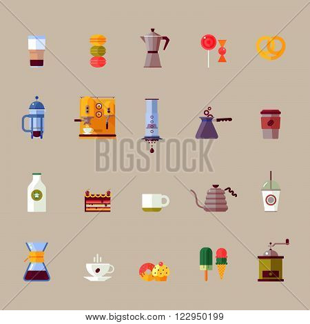 Colorful coffee maker vector flat icons set. Modern icons for coffee shop with french press aeropress chemex. Vector isolated illustration