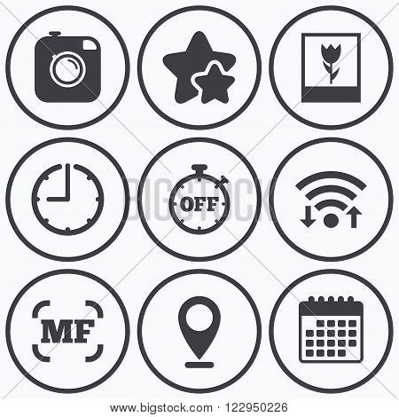 Clock, wifi and stars icons. Hipster retro photo camera icon. Manual focus symbols. Stopwatch timer off sign. Macro symbol. Calendar symbol.