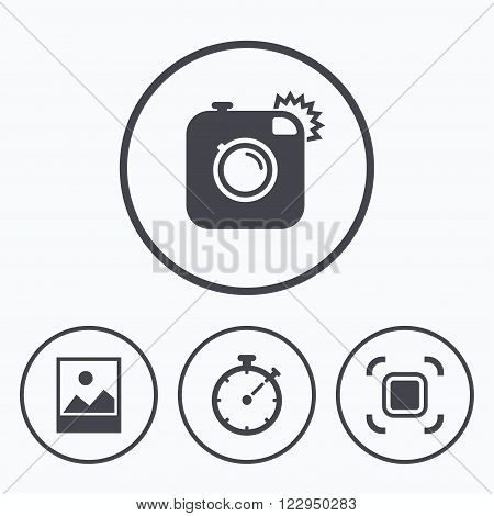 Hipster retro photo camera icon. Autofocus zone symbol. Stopwatch timer sign. Landscape photo frame. Icons in circles.