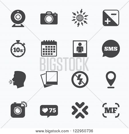 Calendar, go to web and like counter. Photo, video icons. Web camera, photos and frame signs. No flash, timer and portrait symbols. Sms speech bubble, talk symbols.