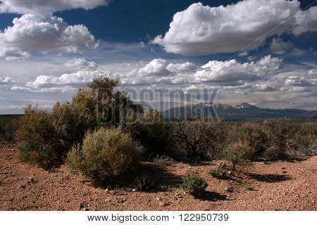 Arid landscape of the American West near the town of San, Luis in southeastern Colorado