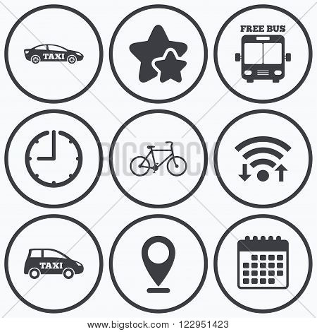 Clock, wifi and stars icons. Public transport icons. Free bus, bicycle and taxi signs. Car transport symbol. Calendar symbol.