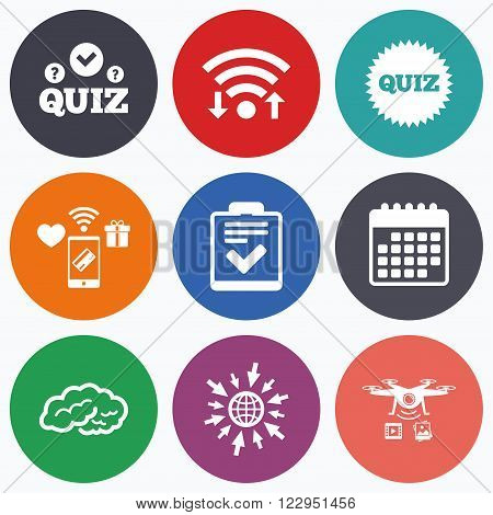 Wifi, mobile payments and drones icons. Quiz icons. Human brain think. Checklist symbol. Survey poll or questionnaire feedback form. Questions and answers game sign. Calendar symbol.