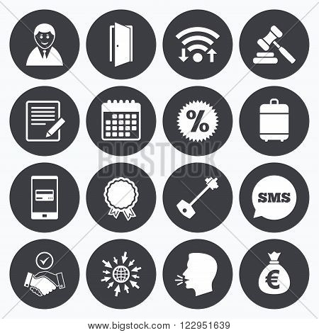 Wifi, calendar and mobile payments. Real estate, auction icons. Home key, discount and door signs. Business agent, award medal symbols. Sms speech bubble, go to web symbols.