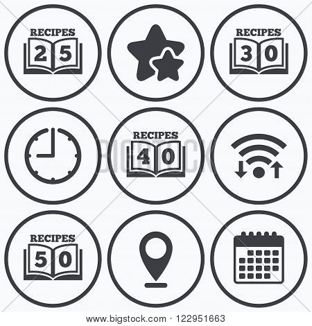 Clock, wifi and stars icons. Cookbook icons. 25, 30, 40 and 50 recipes book sign symbols. Calendar symbol.