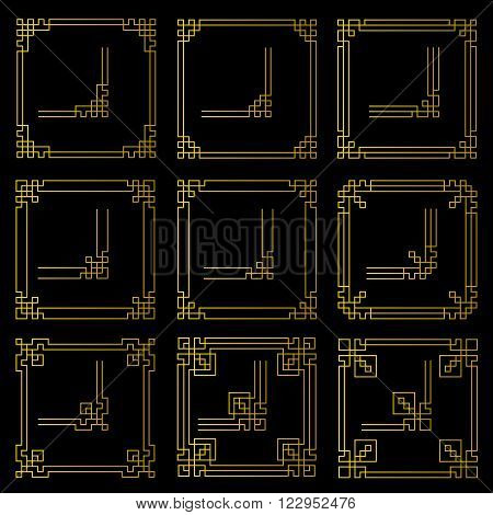 Vector frames borders art deco style decorative corner