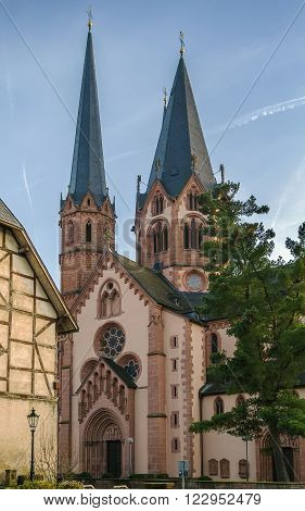 Church On St. Mary Gelnhausen Germany. It shows both Romanesque and Gothic architecture elements.