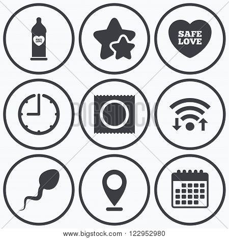 Clock, wifi and stars icons. Safe sex love icons. Condom in package symbol. Sperm sign. Fertilization or insemination. Calendar symbol.