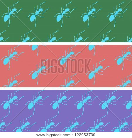 Cartoon ants on a color back seamless pattern