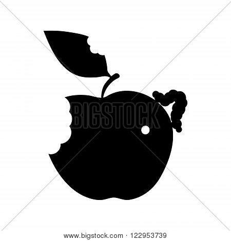 Isolated illustration black apple worm icon flat