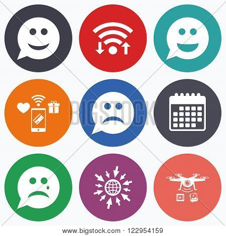 Wifi, mobile payments and drones icons. Speech bubble smile face icons. Happy, sad, cry signs. Happy smiley chat symbol. Sadness depression and crying signs. Calendar symbol.