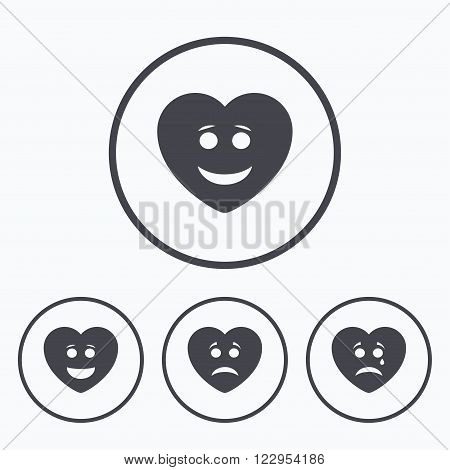 Heart smile face icons. Happy, sad, cry signs. Happy smiley chat symbol. Sadness depression and crying signs. Icons in circles.