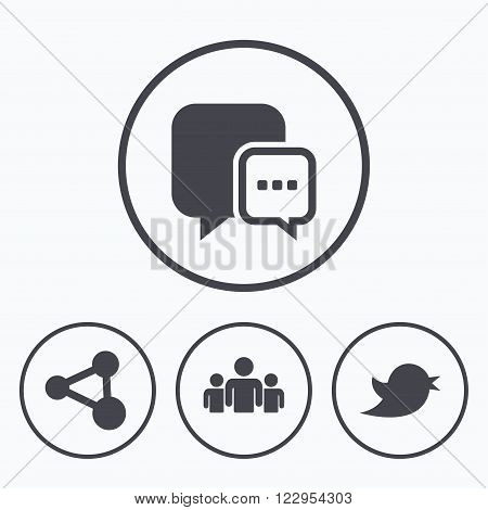 Social media icons. Chat speech bubble and Bird chick symbols. Human group sign. Icons in circles.