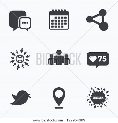 Calendar, like counter and go to web icons. Social media icons. Chat speech bubble and Bird chick symbols. Human group sign. Location pointer.