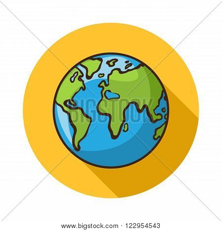 Earth icon.Vector Earth icon isolated with shadow.Hand draw Earth vecto r.Vector Earth icon isolated on background