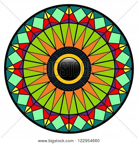 Illustration of a colorful mosaic eye on a white background.