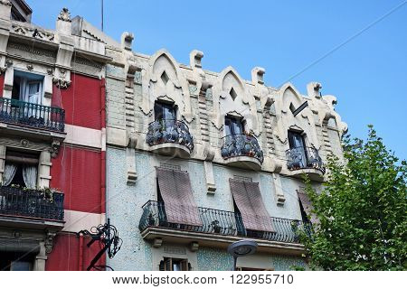 BARCELONA, SPAIN - JULY 31, 2015: Close view of modernistic building in Barcelona, Spain