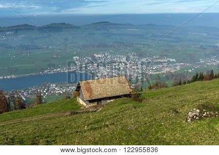 Small mountain house and Panoramic view to Lake Luzerne, Alps, Switzerland