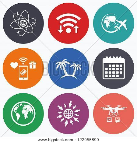Wifi, mobile payments and drones icons. Travel trip icon. Airplane, world globe symbols. Palm tree sign. Travel round the world. Calendar symbol.