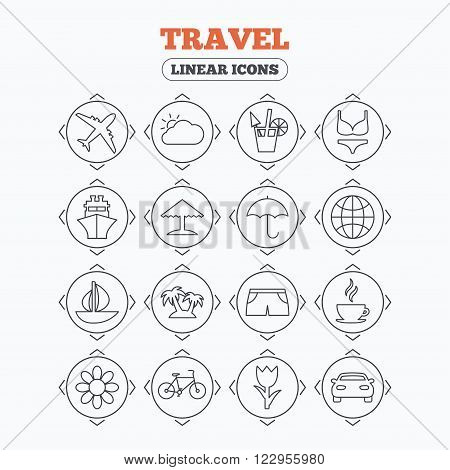 Linear icons with direction arrows. Travel icons. Ship, plane and car transport. Beach umbrella, palms and cocktail. Swimming trunks. Rose or tulip flower. Circle buttons.