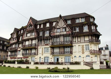 Deauville city in Normandy, France. Typical wooden house