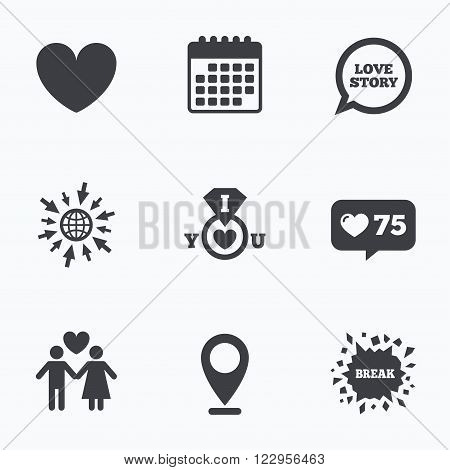Calendar, like counter and go to web icons. Valentine day love icons. I love you ring symbol. Couple lovers sign. Love story speech bubble. Location pointer.