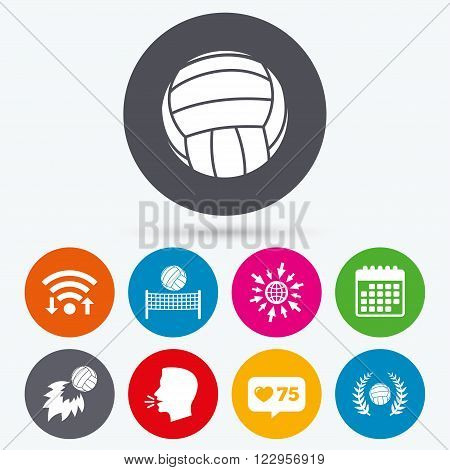 Wifi, like counter and calendar icons. Volleyball and net icons. Winner award laurel wreath symbols. Fireball and beach sport symbol. Human talk, go to web.