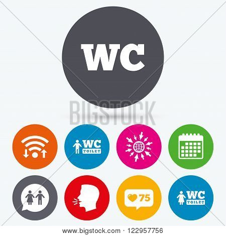 Wifi, like counter and calendar icons. WC Toilet icons. Gents and ladies room signs. Man and woman speech bubble symbol. Human talk, go to web.