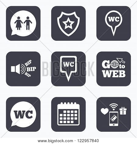 Mobile payments, wifi and calendar icons. WC Toilet pointer icons. Gents and ladies room signs. Man and woman speech bubble symbols. Go to web symbol.