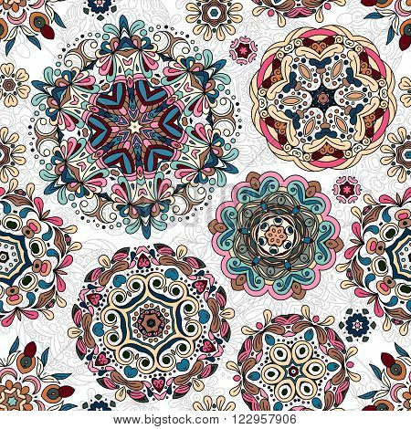 Ethnic pattern in pastel color with stylized flowers, leaves and circular shapes with Kazakh, Turkish, Uzbek motifs Seamless vector texture for print, spring summer fashion, wallpaper, fabric, textile