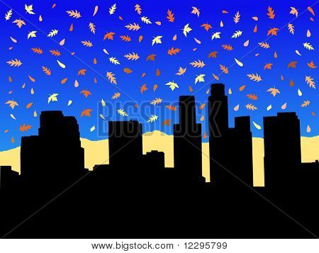 Los Angeles skyline in autumn with falling leaves illustration