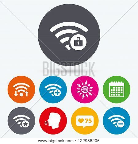 Wifi, like counter and calendar icons. Wifi Wireless Network icons. Wi-fi zone add or remove symbols. Favorite star sign. Password protected Wi-fi. Human talk, go to web.