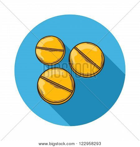 Pills icon.Vector Pills icon isolated with shadow.Hand draw Pills vector.Medical Pills icon.A small round mass of solid medicine to be swallowed whole.Vector pills icon flat isolated on background